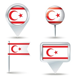Map pins with flag of northern cyprus vector
