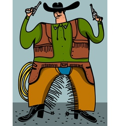 cowboy with guns vector image