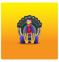 The multi-colored turkey-cock sits and waits for vector