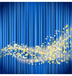 Golden stars flowing vector