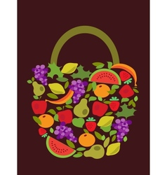 Bag with fruits and vegetables pattern vector