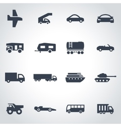 Black vehicles icon set vector