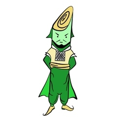 Drawing lettuce mr leek in national costume vector