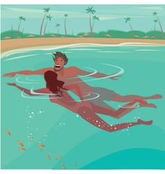 Couple swimming in the ocean vector