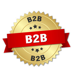 B2b round isolated gold badge vector