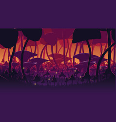 Background of landscape with deep mushroom forest vector