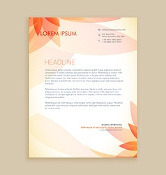 beautiful orange flower letterhead design vector image vector image
