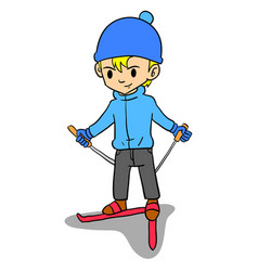 Boy playing ski character style vector