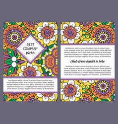 brochure design with vintage floral pattern vector image vector image
