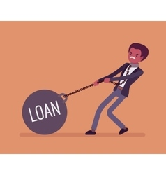 Businessman dragging a weight loan on chain vector