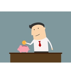 Businessman saving money in piggy bank vector image vector image