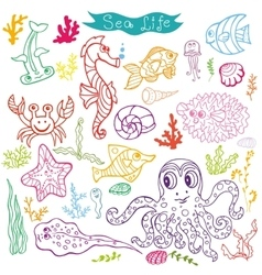 Cartoon Funny Fish Sea Life Doodle linear se vector image