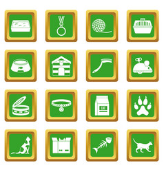 Cat care tools icons set green vector