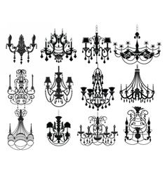 Classic chandelier Set Collection vector image vector image
