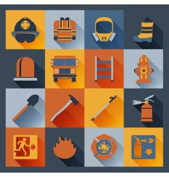 Firefighter icons flat vector