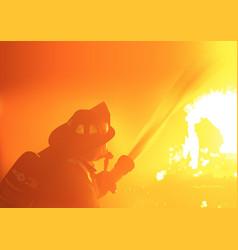 firefighter spray water vector image vector image