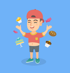 Happy caucasian boy standing among lots of sweets vector