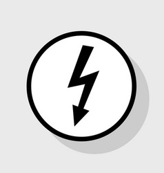 High voltage danger sign flat black icon vector