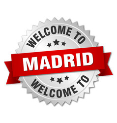 Madrid 3d silver badge with red ribbon vector