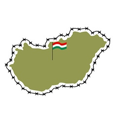 Map of hungary country closes border against vector