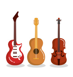 Music instruments guitars violin acoustic vector