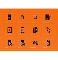 Network SIM cards icons on orange background vector image vector image