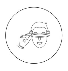 player with virtual reality headoutline icon in vector image vector image