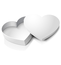 realistic blank opened heart shape box with vector image
