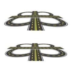 Road interchange highway with yellow markings in vector