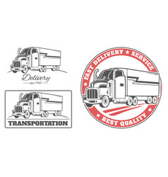set of labels and logos for delivery truck vector image vector image