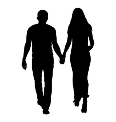 Silhouette man and woman walking hand in hand vector