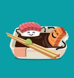Sushi fun character in bath sauce vector