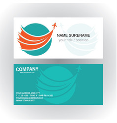 swirl circle plane travel logo business card vector image