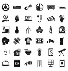 Telescope icons set simple style vector