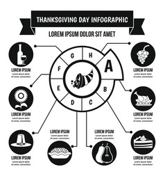Thanksgiving day infographic concept simple style vector