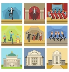 Theatre buildings and stage perfomances icons vector