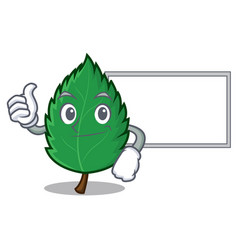 Thumbs up with board mint leaves character cartoon vector