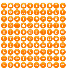 100 wellness icons set orange vector