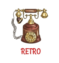 Vintage rotary dial telephone colored sketch vector