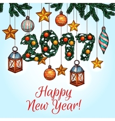 New year poster with decorated pine tree vector