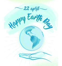 earth globe and human hand vector image