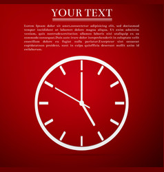 Clock flat icon on red background vector