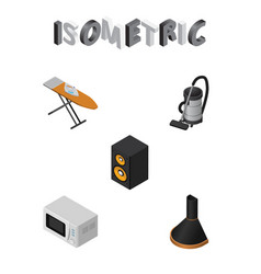 Isometric appliance set of vac music box cloth vector