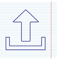 Upload sign navy line icon vector