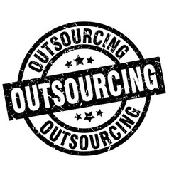 Outsourcing round grunge black stamp vector