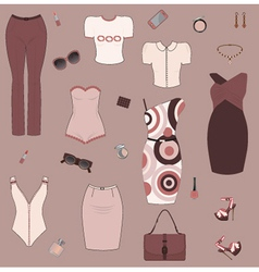 Set of women clothes and accesories vector