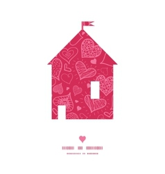 Doodle hearts house silhouette pattern frame vector