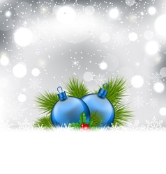 Christmas winter background with glass balls - vector