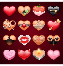 Set of sex hearts icons vector