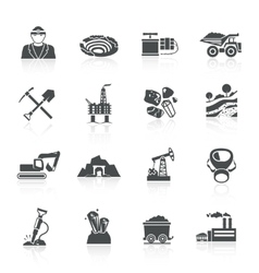 Mining icons black vector